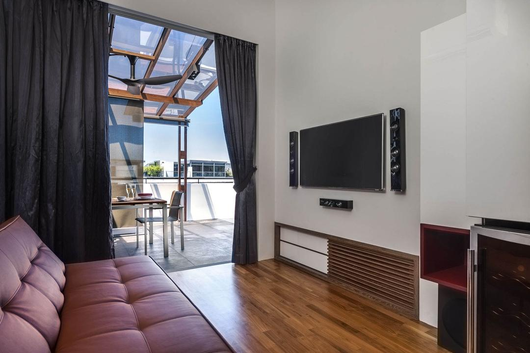 The Nclave, Prozfile Design, Contemporary, Living Room, Condo, Tv Console, Balcony, Chair, Sofa, Quilted, Curtains, Awning, Ceiling Fan, Parquet, White, Flooring, Appliance, Electrical Device, Microwave, Oven