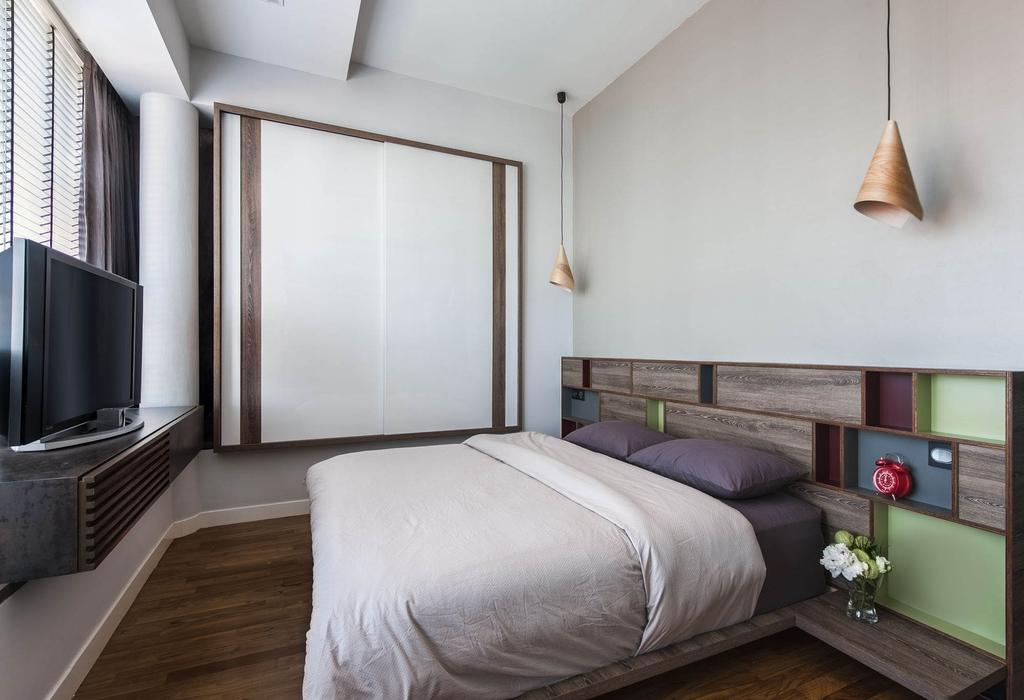 Contemporary, Condo, Bedroom, The Nclave, Interior Designer, Prozfile Design, Master Bedroom, Tv Console, Cabinet, White, Wood Laminate, Wood, Headboard, Shelf, Shelves, Display Shelf, Parquet, Venetian Blinds, Laminate, Hanging Light, Lighting, Side Table, Mounted, Nightstand, Colorful, Neutral Tones