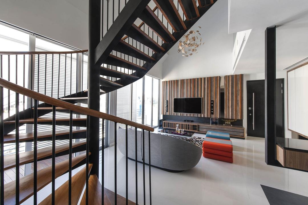 The Nclave, Prozfile Design, Contemporary, Living Room, Condo, Stairs, Staircase, Handrails, White, Lighting, Pendant Light, Hanging Light, Tv Console, Stools, Chair, Black, Columns, Wood Laminate, Wood, Laminate, Full Length Windows, Electronics, Entertainment Center