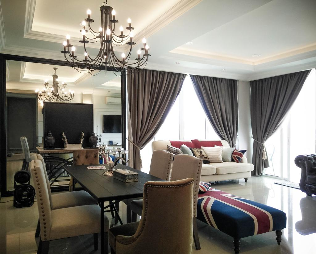 Contemporary, Condo, Living Room, Le Yuan, Interior Designer, Double Art Design Studio, Chandelier, Lamp, Dining Room, Indoors, Interior Design, Room, Couch, Furniture, Sink