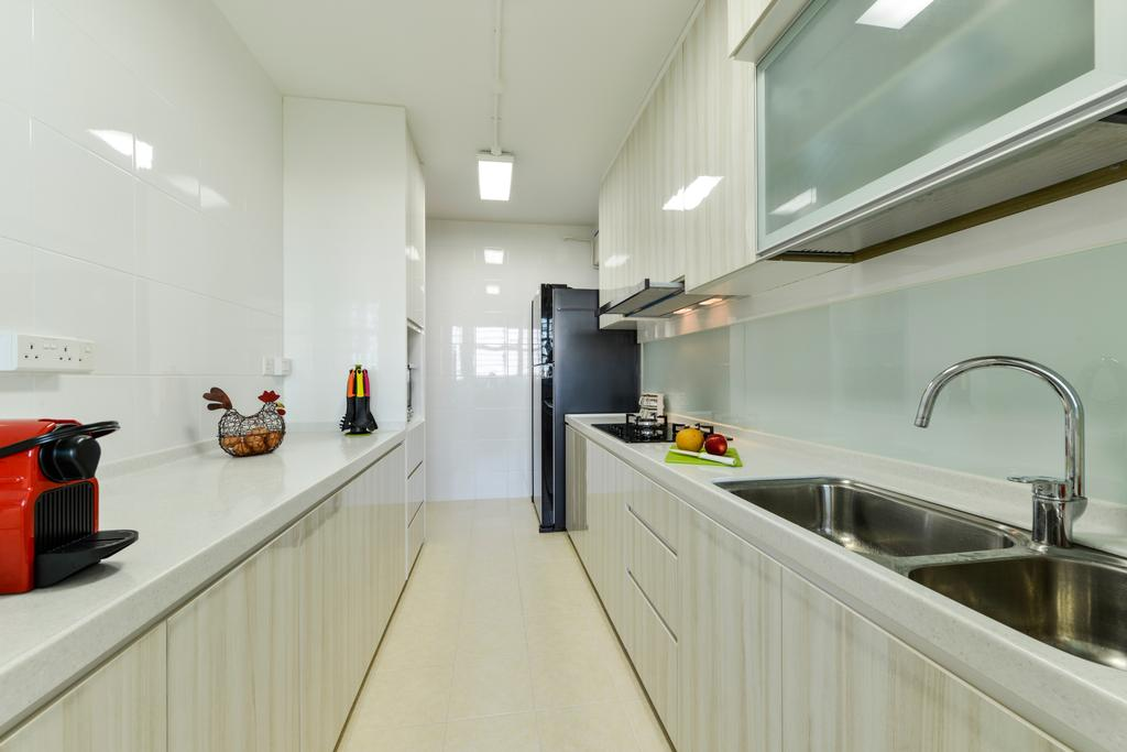Scandinavian, HDB, Kitchen, Upper Serangoon Crescent, Interior Designer, Space Define Interior, Gallery Kitchen Layout, Minimal Carpentry, Kitchen Sink, Solid Surface, Solid Countertop, White, Simple, Easy To Clean, Easy To Maintain, White Lights, Tiles, Indoors, Interior Design