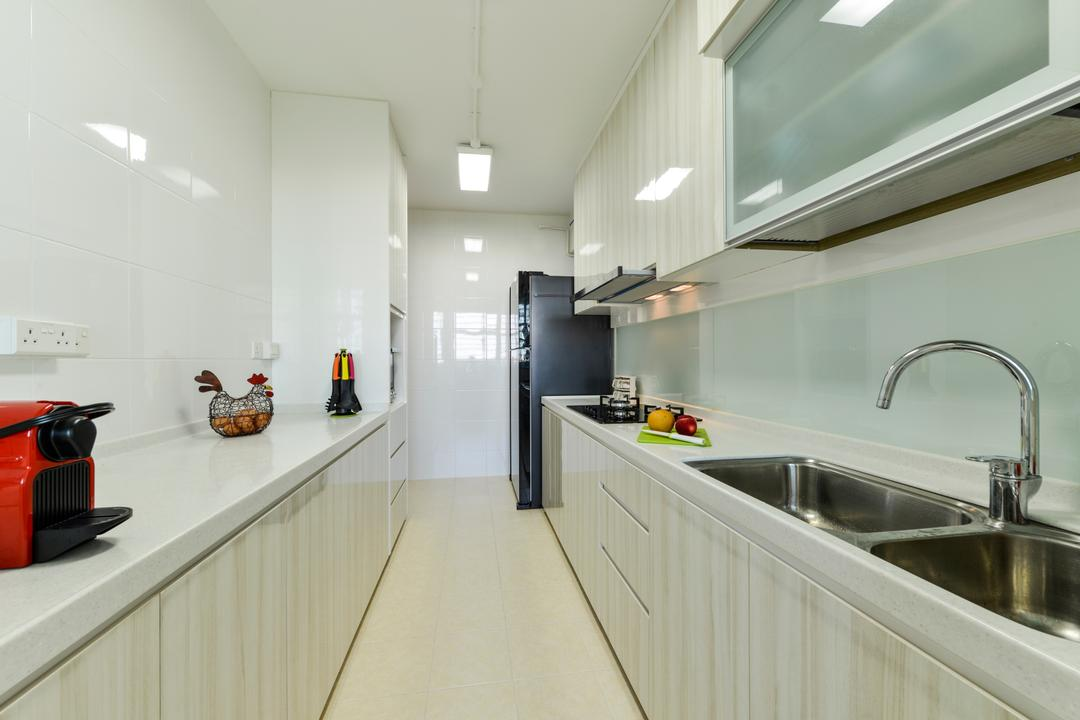 Upper Serangoon Crescent, Space Define Interior, Scandinavian, Kitchen, HDB, Gallery Kitchen Layout, Minimal Carpentry, Kitchen Sink, Solid Surface, Solid Countertop, White, Simple, Easy To Clean, Easy To Maintain, White Lights, Tiles, Indoors, Interior Design