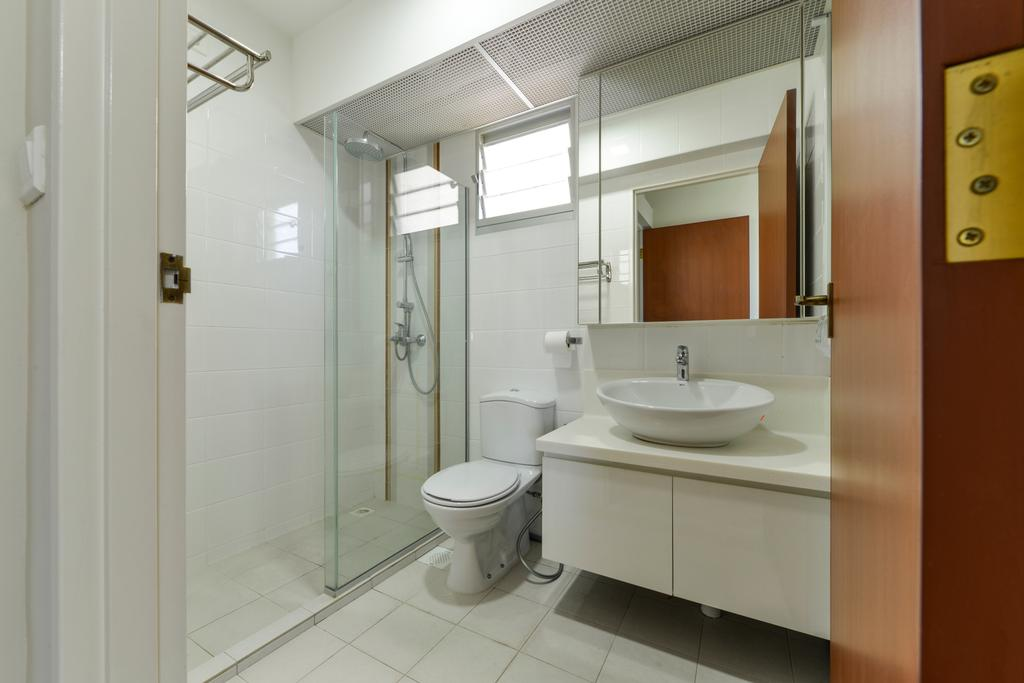 Scandinavian, HDB, Bathroom, Upper Serangoon Crescent, Interior Designer, Space Define Interior, Tiles, White, Easy To Clean, Easy To Maintain, All White, Simple, Toilet, Sink, Indoors, Interior Design, Room