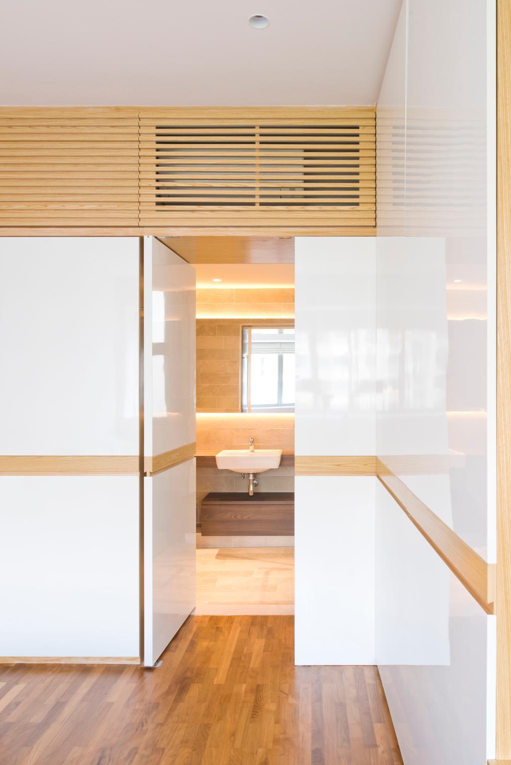 Minimalistic, Condo, Bathroom, Waterina, Architect, 7 Interior Architecture, Bathroom Door, Hidden Door, Concealed Door, Sink, Indoors, Interior Design, Door, Sliding Door