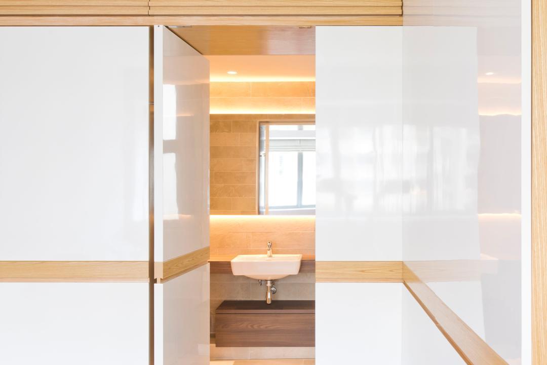 Waterina, 7 Interior Architecture, Minimalistic, Bathroom, Condo, Bathroom Door, Hidden Door, Concealed Door, Sink, Indoors, Interior Design, Door, Sliding Door
