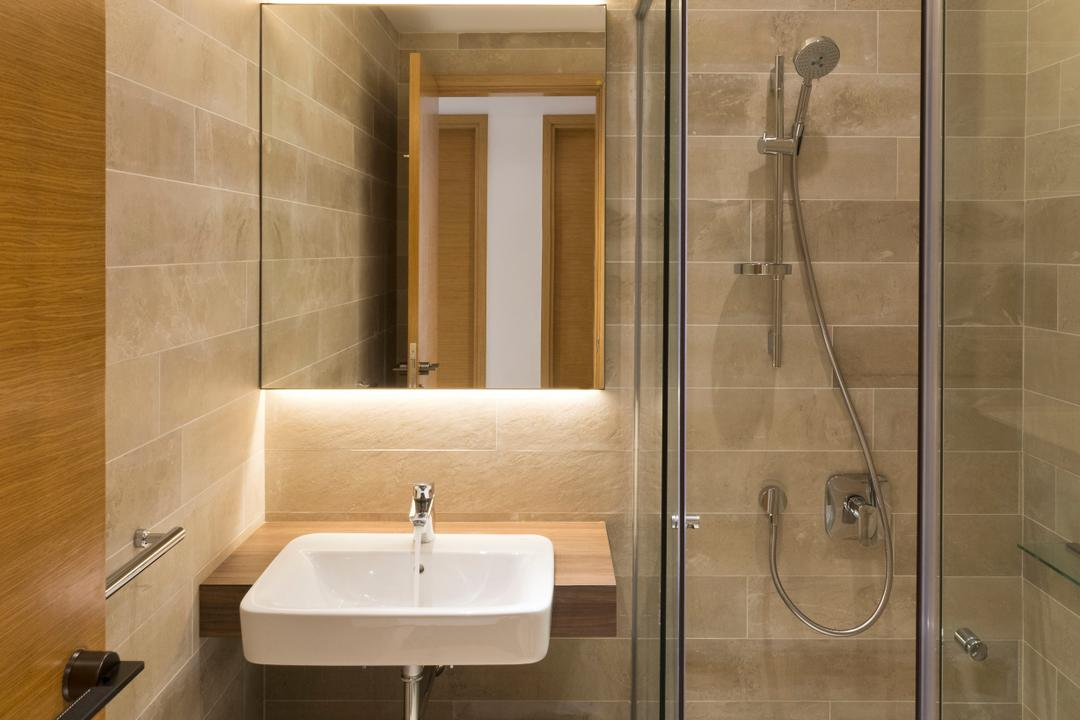 Waterina, 7 Interior Architecture, Minimalistic, Bathroom, Condo, Bathroom Tiles, Bathroom Wall Tiles, Shower Head, Brown Tiles, Resort Style, Bathroom Vanity, Bathroom Sink, Mirror, Concealed Lighting, Bathroom Cabinet, Shower, Indoors, Interior Design, Room, Toilet