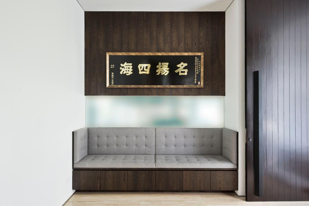 Traditional, Landed, Living Room, 30 Ripley Crescent, Architect, 7 Interior Architecture, Sofa, Bench, Waiting Area, Two Seater, Retro, Old School, Oriental, Chinese, Asian, Chair, Furniture, Door, Sliding Door, Wall