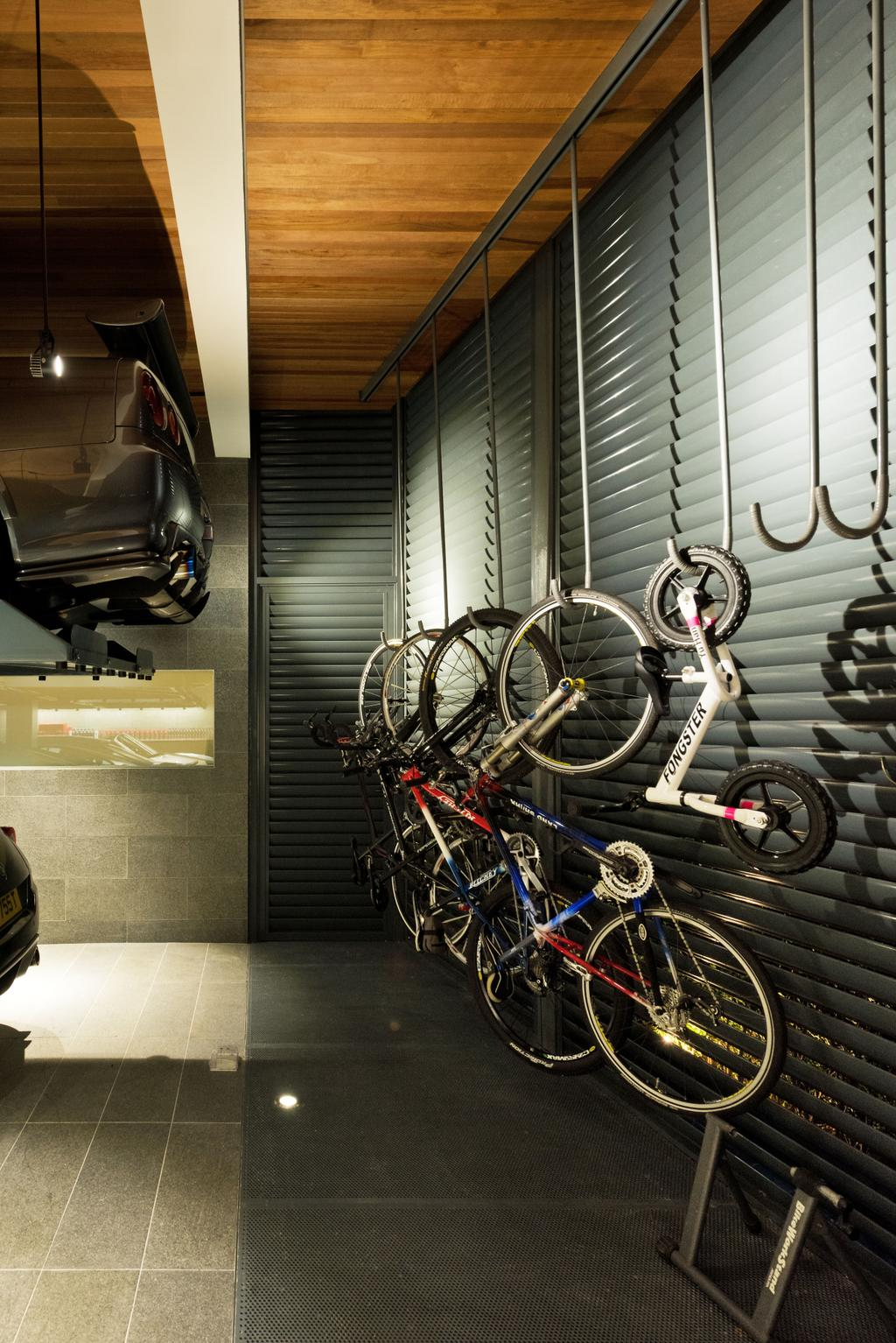 Traditional, Landed, 30 Ripley Crescent, Architect, 7 Interior Architecture, Bicycle Rack, Wall Mounted Bicycle, Hook, Wooden Ceiling, , Ceiling Wood Panels, Bicycle, Bike, Transportation, Vehicle