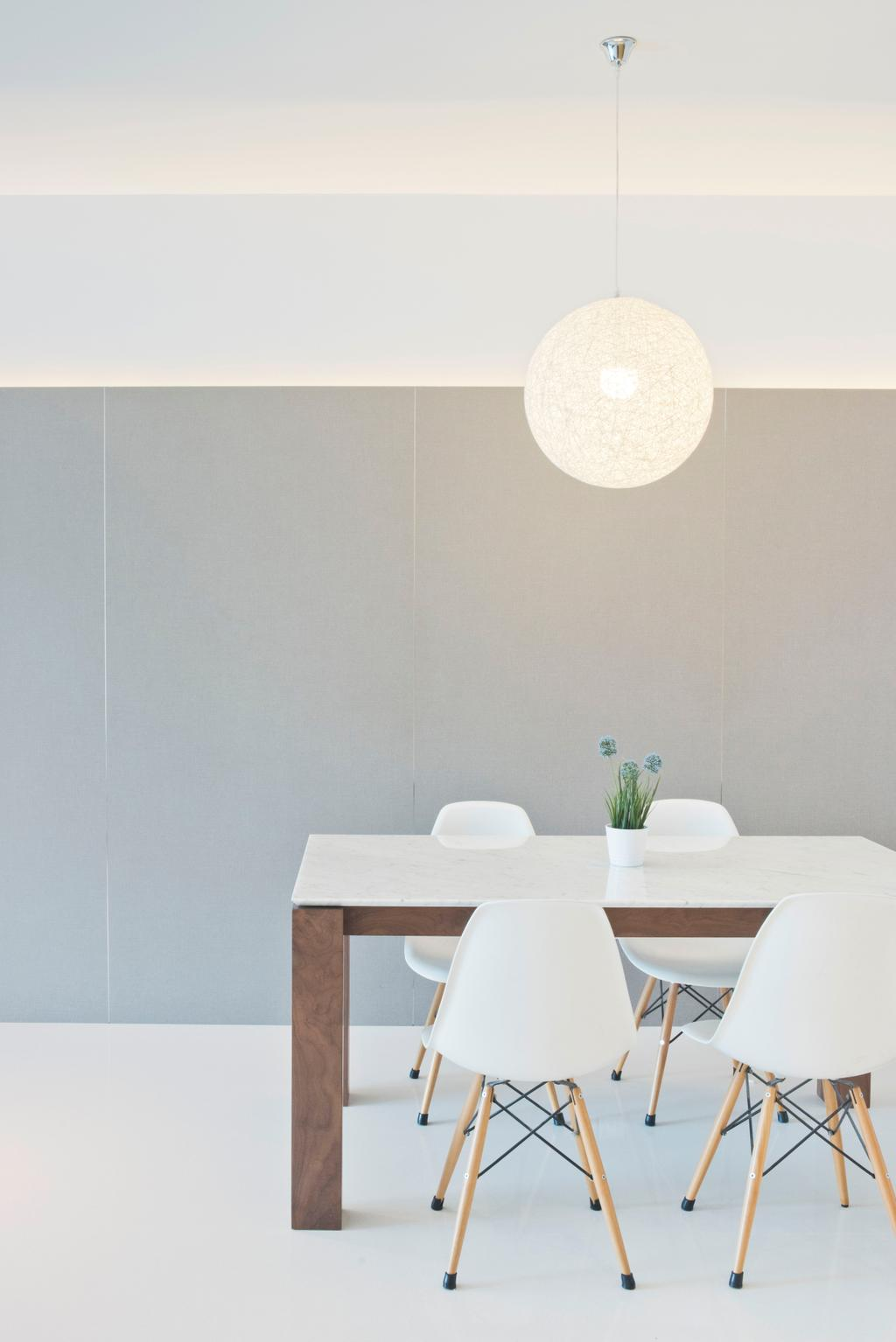Minimalistic, Condo, Dining Room, Waterina, Architect, 7 Interior Architecture, , Minimalist, Simple Colours, Clean Cut, Neutral Colours, White Dsw Chair, Eames Chair, White Furniture, All White, Pendant Lamp, Round Pendant Lamp, Hanging Lamp, Grey Wall, Dining Table, Furniture, Table, Flora, Jar, Plant, Potted Plant, Pottery, Vase, Indoors, Interior Design, Room, Art, Blossom, Flower, Flower Arrangement, Ikebana, Ornament