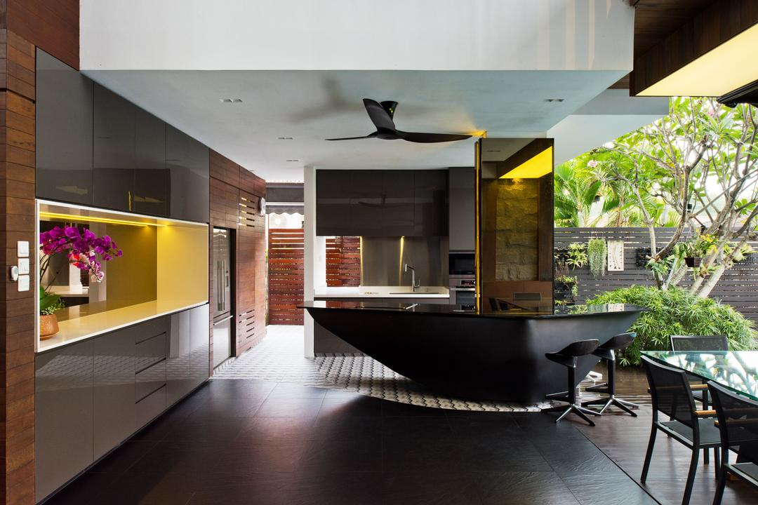 20 Toh Heights, 7 Interior Architecture, Contemporary, Kitchen, Landed, Kitchen Countertop, Bar Countertop, Kitchen Stools, Bar Stools, Sleek, Modern, Black, Chic, Ceiling Fan, Black Ceiling Fan, Black Flooring, Cabinet, Cabinetry, Downlight, Under Cabinet Lighting, Open Concept, Natural Light, Flora, Jar, Plant, Potted Plant, Pottery, Vase