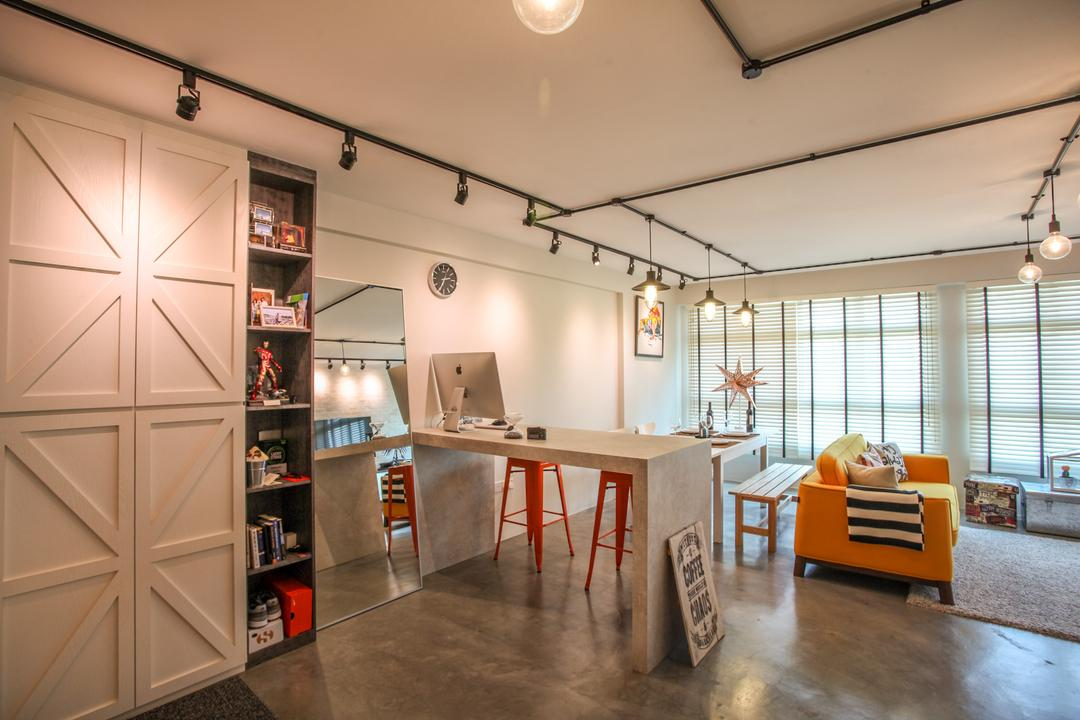 Yishun Avenue 1, Ace's Design, Scandinavian, Industrial, Living Room, HDB, Cabinet, , Display Shelf, Cabinet Door Design, Track Lighting, Black Track Lighting, Kitchen Countertop, Bar Countertop, Concrete, Cement, Grey, Concrete Flooring, Mirror, Full Length Mirror, Floor Mirror