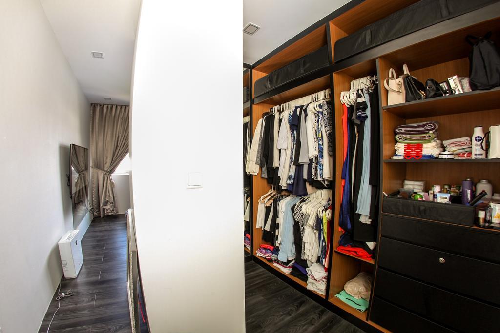 Scandinavian, HDB, Bedroom, Yishun Avenue 1, Interior Designer, Ace's Design, Industrial, Wardrobe, Black Wardrobe, Clothes, Organisation, Storage, Storage Space, Open Wardrobe
