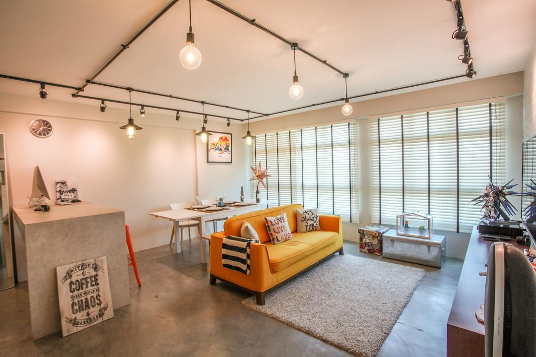 Yishun Avenue 1, Ace's Design, Scandinavian, Industrial, Living Room, HDB, Blinds, Venetian Blinds, Carpet, Orange Sofa, Yellow Sofa, Two Seater, Loveseat, Fabric Sofa, Cushions, Pendant Lamp, Hanging Lamp, Light Bulb Pendant Lamp, Cosy Home, Trunk Coffee Table