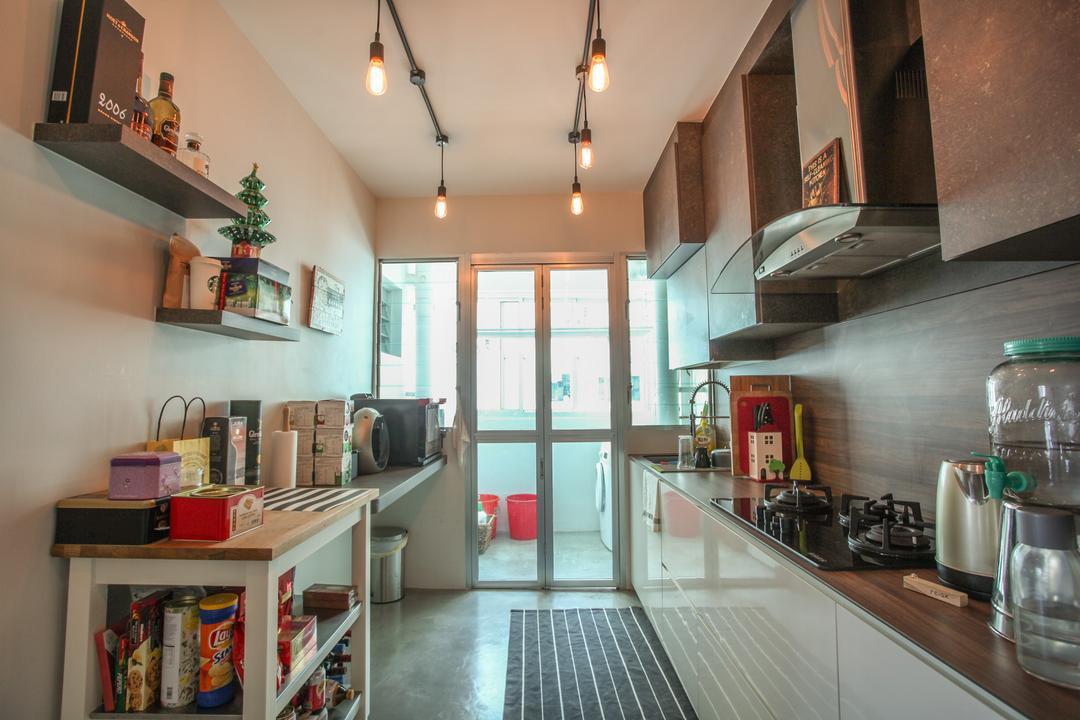 Yishun Avenue 1, Ace's Design, Scandinavian, Industrial, Kitchen, HDB, Raw, Grey Cabinet, Kitchen Cabinet, Cabinetry, Kompacplus, Carpet, Light Bulb Pendant Lamp, Exposed Bulb, Wall Shelf, Wall Ledge, Kitchen Storage