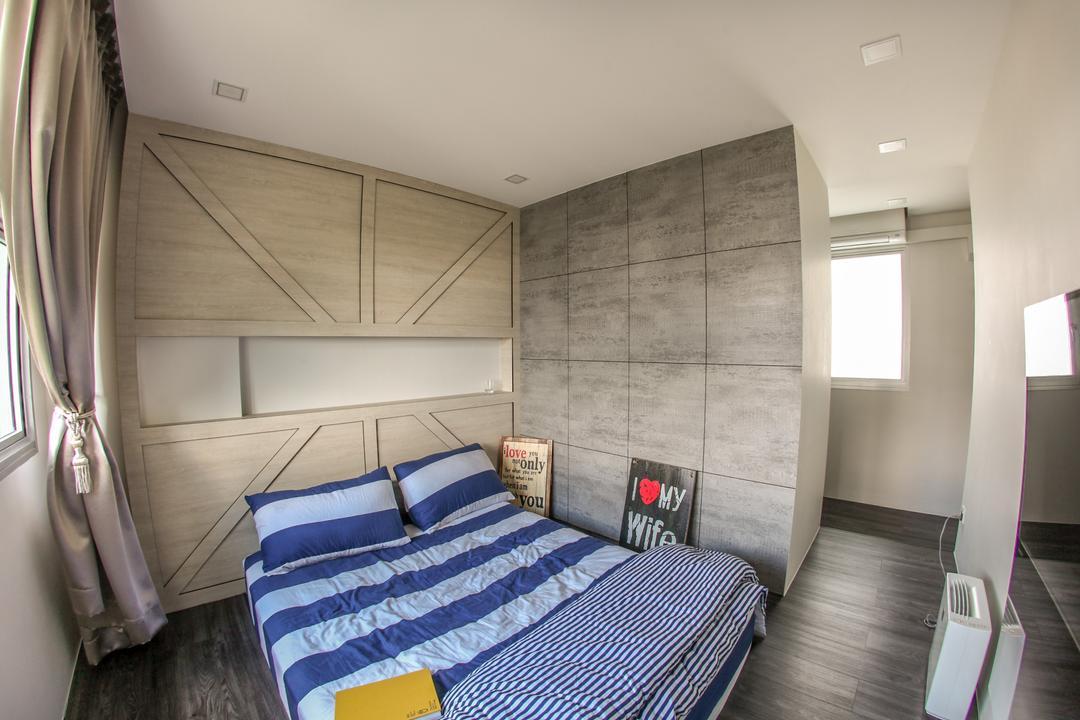 Yishun Avenue 1, Ace's Design, Scandinavian, Industrial, Bedroom, HDB, Raw, Grey, Unfinished Touch, Cabinet Design, Grey Wall, Wood Floor, Wooden Flooring, Grey Wood