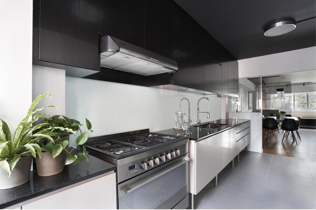 Contemporary, HDB, Kitchen, Bishan, Interior Designer, Free Space Intent, Exhaust Hood, Kitchen Counter, Cabinet, Tile, Tiles, Lighting, White, Black, Glass Sliding Doors, Flora, Jar, Plant, Planter, Potted Plant, Pottery, Vase, Indoors, Interior Design, Room, Building, Housing, Loft