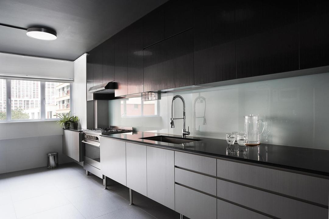 Bishan, Free Space Intent, Contemporary, Kitchen, HDB, Linear, Cabinet, Kitchen Counter, Black, Marble Surface, Glass Wall, Indoors, Interior Design, Room