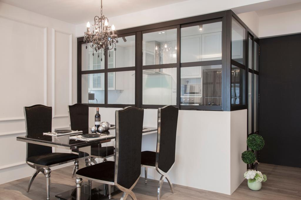 Vintage, HDB, Dining Room, Pasir Ris, Interior Designer, M3 Studio, Dining Table, Dining Chairs, Metallic, Chandelier, Half Hack, Glass With Black Trims, Sink, Indoors, Interior Design, Room, Chair, Furniture, Table