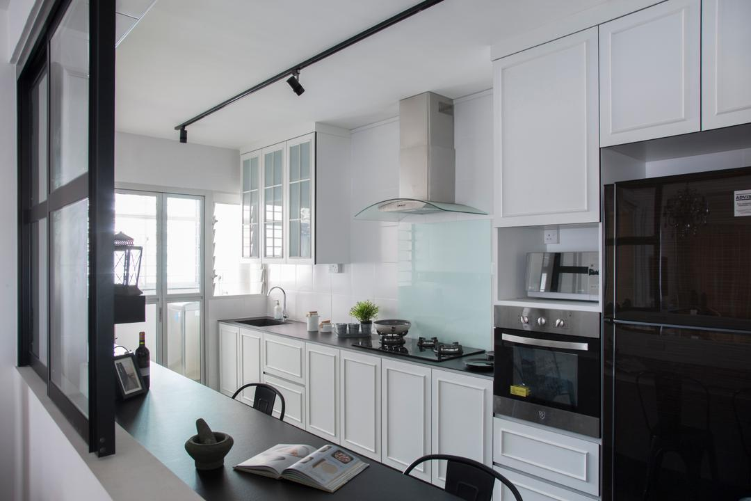 Pasir Ris, M3 Studio, Vintage, Kitchen, HDB, Kitchen Cabinet, White Kitchen Cabinet, White Kitchen, Wainscoting, White, Exhaust Hood, French Inspired, English Inspired, Black Refrigerator, Oven, Stove, Door, Sliding Door, Appliance, Electrical Device, Indoors, Interior Design, Room