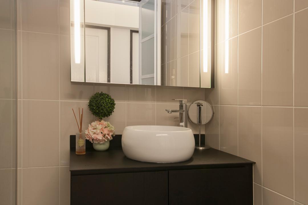 Pasir Ris, M3 Studio, Vintage, Bathroom, HDB, Bathroom Vanity, Vessel Sink, Bathroom Cabinet, Vanity Mirror, Mirror, Flora, Jar, Plant, Potted Plant, Pottery, Vase, Indoors, Interior Design, Room
