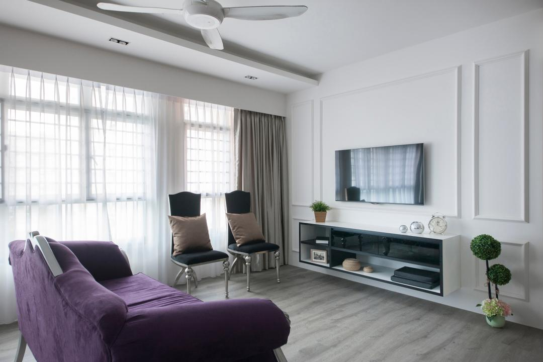 Pasir Ris, M3 Studio, Vintage, Living Room, HDB, Tv Console, Floating Console, Open Console, Victorian, English, French, Sofa, Purple Sofa, Velvet Sofa, White, Chairs, Ceiling Fan, White Ceiling Fan, Wall Mounted Tv, Couch, Furniture, Indoors, Room, Chair