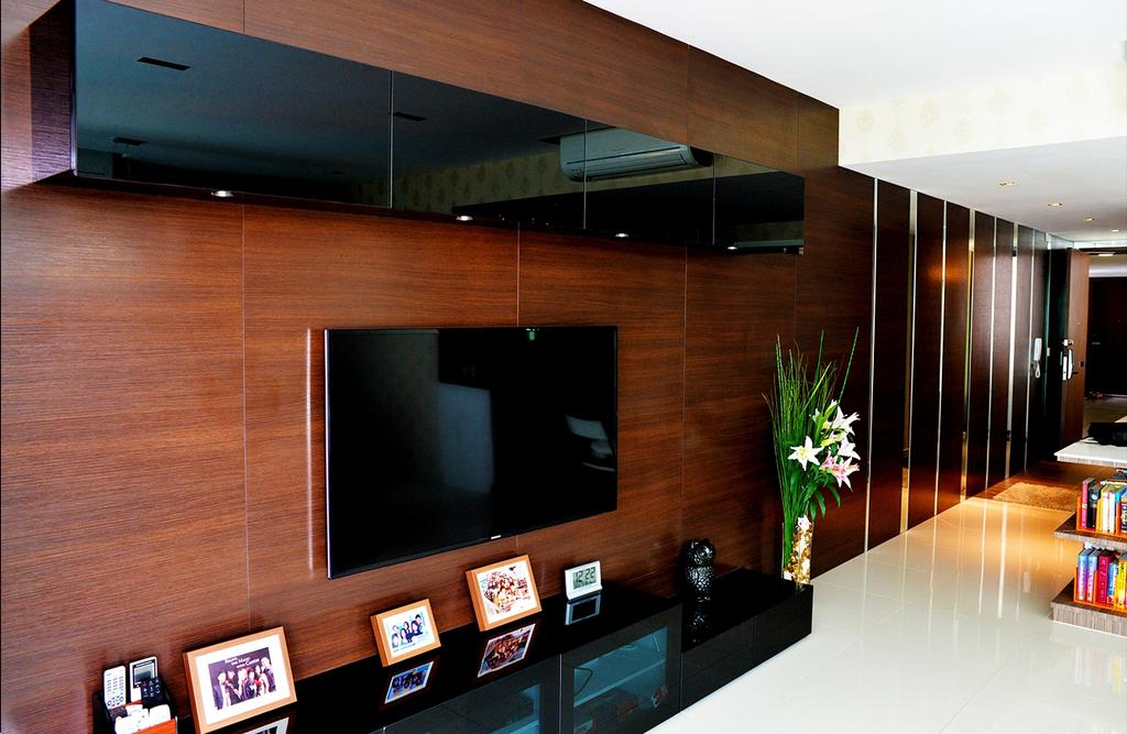 Contemporary, HDB, Living Room, Simei Lane (Block 168C), Interior Designer, Singapore Carpentry, Feature Wall, Tv Console, Tv Cabinet, Photo Frames, Wood Grain, Red Wood, Cabinet, Top Cabinet