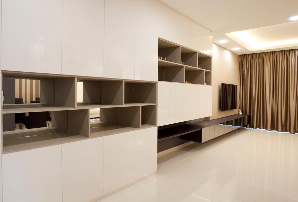 Modern, HDB, Living Room, Fernvale Link (Block 415B), Interior Designer, United Team Lifestyle, Indoors, Interior Design, Bookcase, Furniture