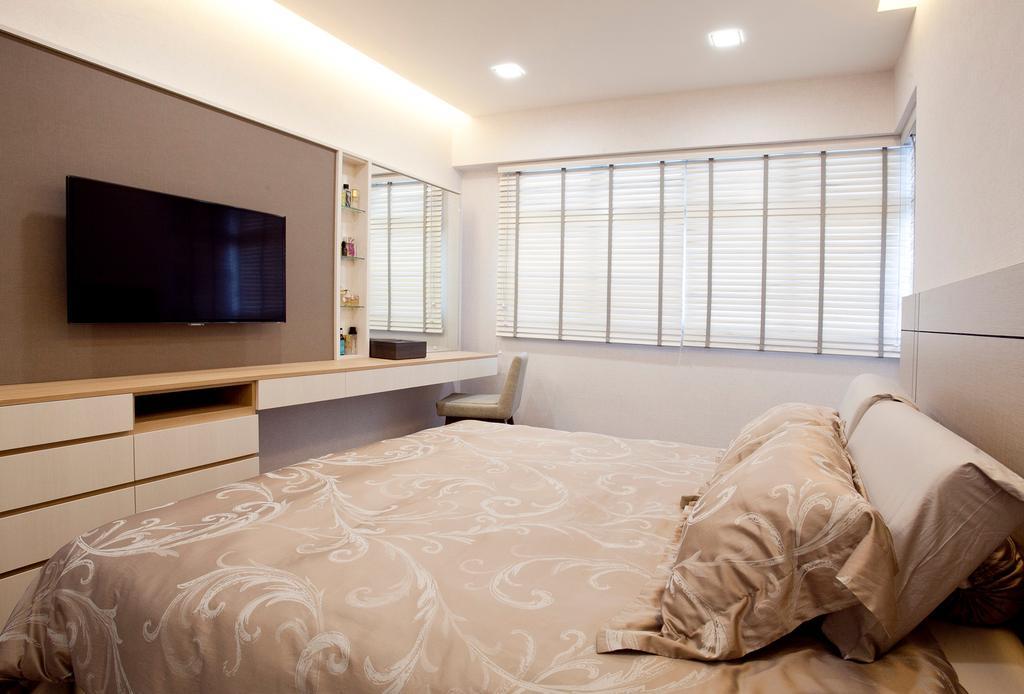 Modern, HDB, Bedroom, Fernvale Link (Block 415B), Interior Designer, United Team Lifestyle, Bed, Furniture