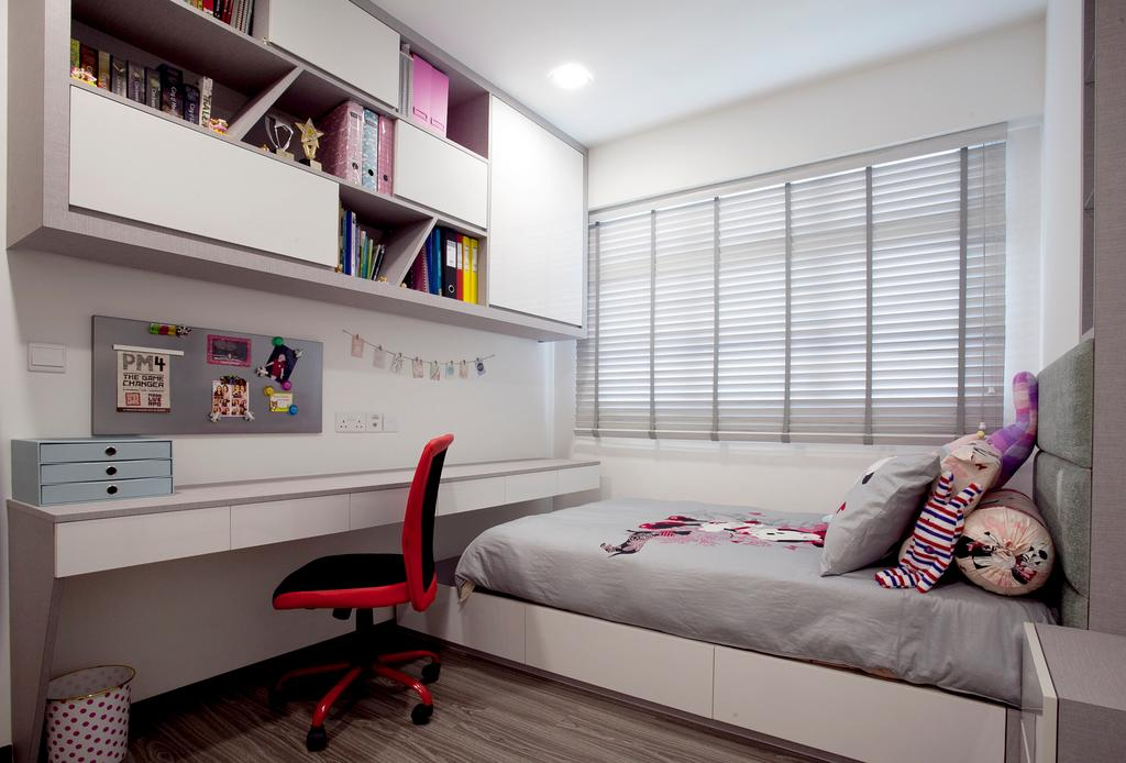 Modern, HDB, Bedroom, Fernvale Link (Block 415B), Interior Designer, United Team Lifestyle, Shelf, Chair, Furniture, Bed