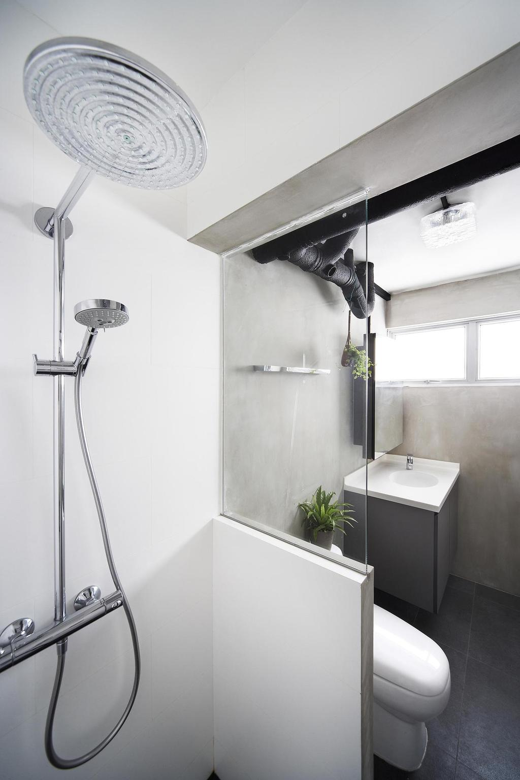 Scandinavian, HDB, Bathroom, Havelock Road, Interior Designer, Free Space Intent, Rain Shower, Glass Wall, White, Gray, Cement Wall, Screed Wall, Bathroom Counter, Flora, Jar, Plant, Potted Plant, Pottery, Vase, Tap, Indoors, Interior Design, Room