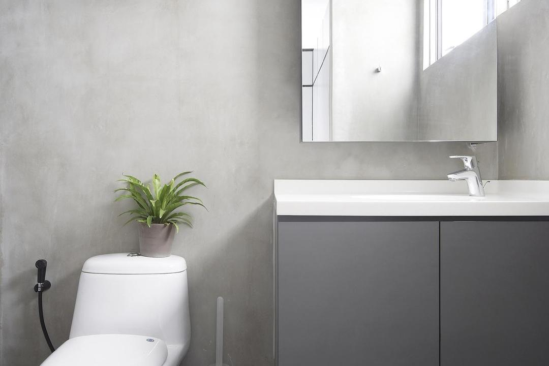 Havelock Road, Free Space Intent, Scandinavian, Bathroom, HDB, Grayscale, Gray, Bathroom Counter, Mirror, Cement Wall, Hanging Plants, Tile, Tiles, Toilet, Indoors, Interior Design, Room, Flora, Jar, Plant, Potted Plant, Pottery, Vase