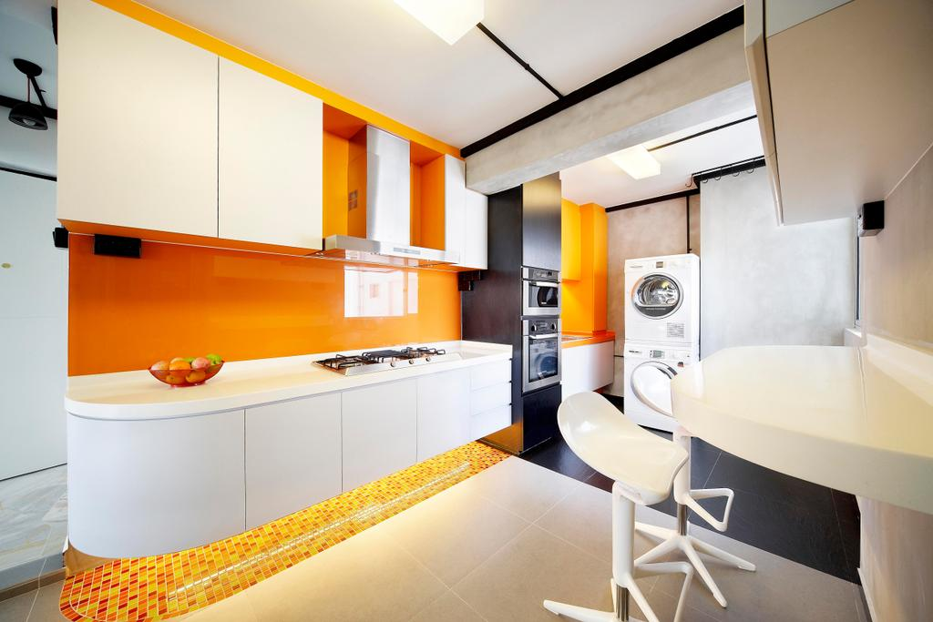 Scandinavian, HDB, Kitchen, Havelock Road, Interior Designer, Free Space Intent, White, Orange, Kitchen Counter, Exhaust Hood, Table, Chair, Mosaic, Mosaic Tiles, Laundry Room, Tile, Tiles, Cement Wall, Screed Wall, Lighting, Furniture, Indoors, Interior Design