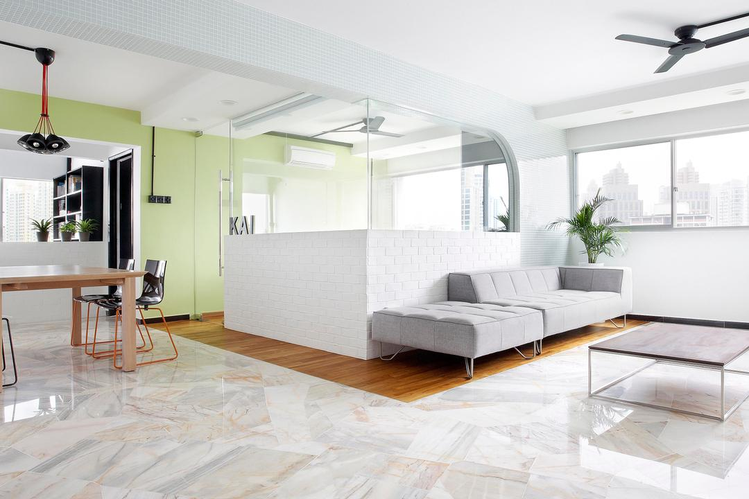 Havelock Road, Free Space Intent, Scandinavian, Living Room, HDB, Dining Table, Chair, Ceiling Fan, Marble Flooring, Table, Coffee Table, Sofa, Brick Wall, White Brick Wall, Green, Glass Wall, Cut Out Wall, Parquet, Hanging Light, Lighting, White, Furniture, Indoors, Interior Design, Studio Couch, Flooring