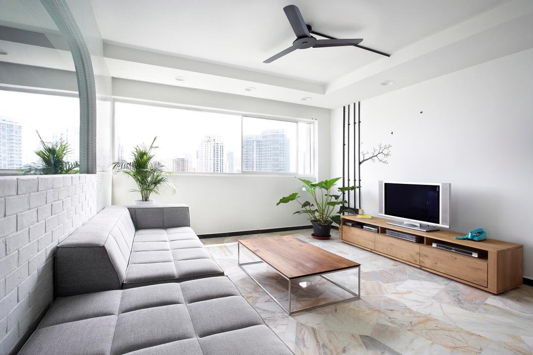 Havelock Road, Free Space Intent, Scandinavian, Living Room, HDB, White, Sofa, Tufted, Quilted, Glass Wall, Brick Wall, White Brick Wall, Marble Flooring, Tv Console, Wood Laminate, Wood, Laminate, Wall Art, Wall Sticker, Woodwork, Ceiling Fan, Flora, Jar, Plant, Potted Plant, Pottery, Vase, Indoors, Interior Design, Electronics, Entertainment Center