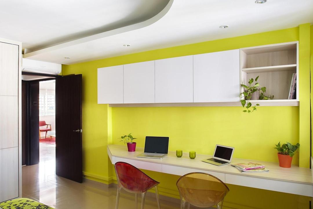Hoy Fatt (Alexandra), Free Space Intent, Eclectic, Bedroom, HDB, Marble Flooring, Chair, Yellow, Bright, False Ceiling, Shelf, Shelves, Cabinet, Study Table, Table, Mounted, Colorful, Indoors, Interior Design, Dining Table, Furniture, Dining Room, Room