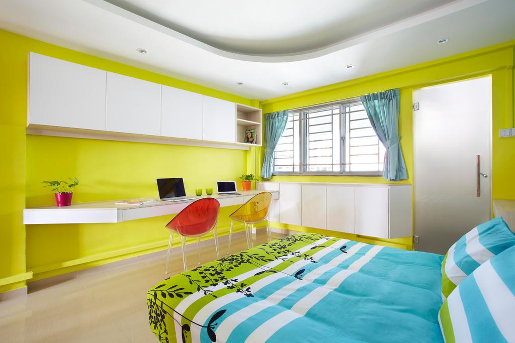 Eclectic, HDB, Bedroom, Hoy Fatt (Alexandra), Interior Designer, Free Space Intent, Green, Chair, Colorful, False Ceiling, Table, Study Table, Mounted Table, Frosted Glass, Glass Doors, Doors, Marble Flooring, Cabinet, Shelf, Shelves, Indoors, Room
