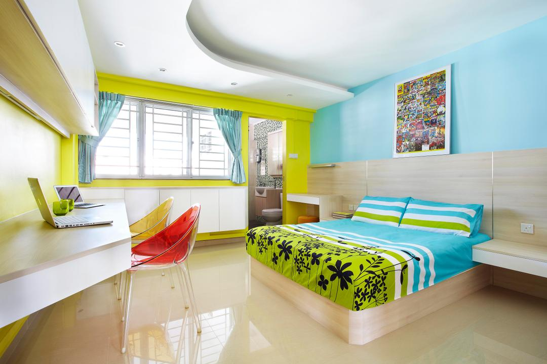 Hoy Fatt (Alexandra), Free Space Intent, Eclectic, Bedroom, HDB, Green, Study Table, Mounted Table, Painting Blue, Side Table, Nightstand, Colorful, Blue, Bright, False Ceiling, Cabinet, Chair