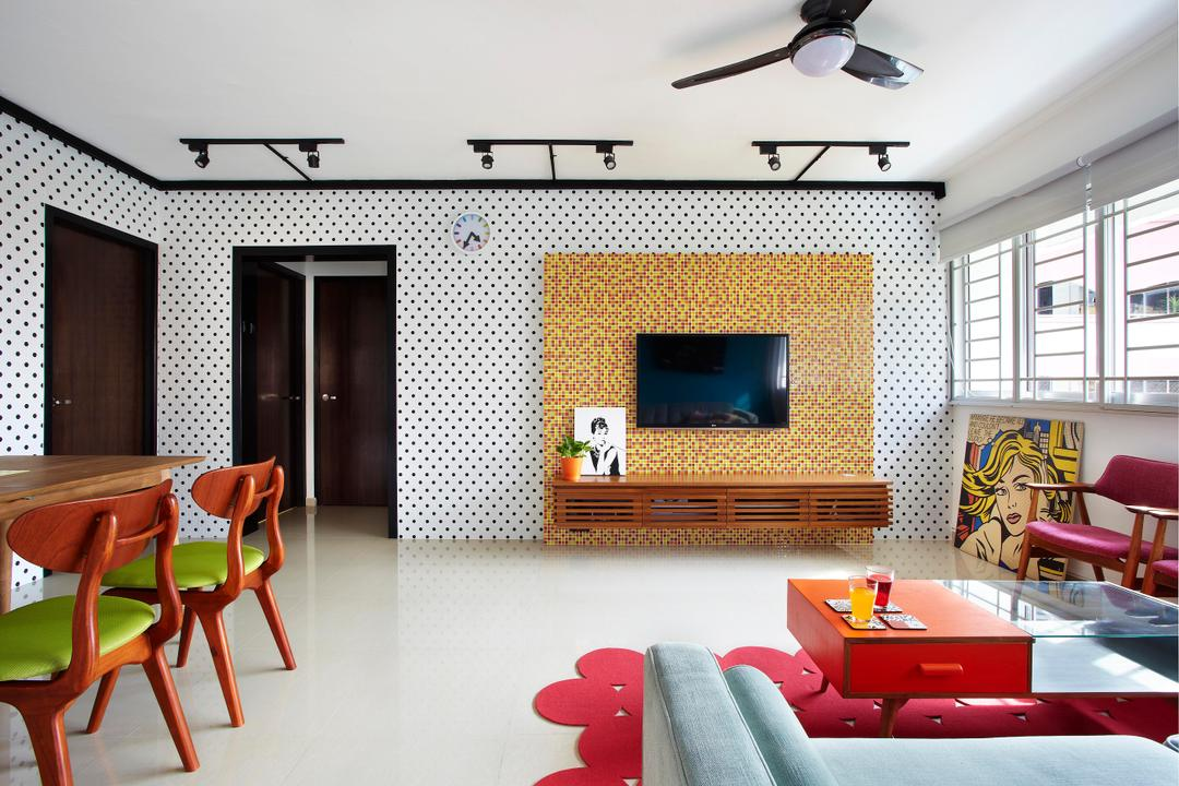 Hoy Fatt (Alexandra), Free Space Intent, Eclectic, Living Room, HDB, Tv Console, False Wall, Mosaic Tiles, Mosaic, Polka Dots, Track Lighting, Yellow, Red, Rug, Coffee Table, Table, Pop Art, Chair, White, Black, Glass Table, Furniture, Indoors, Room