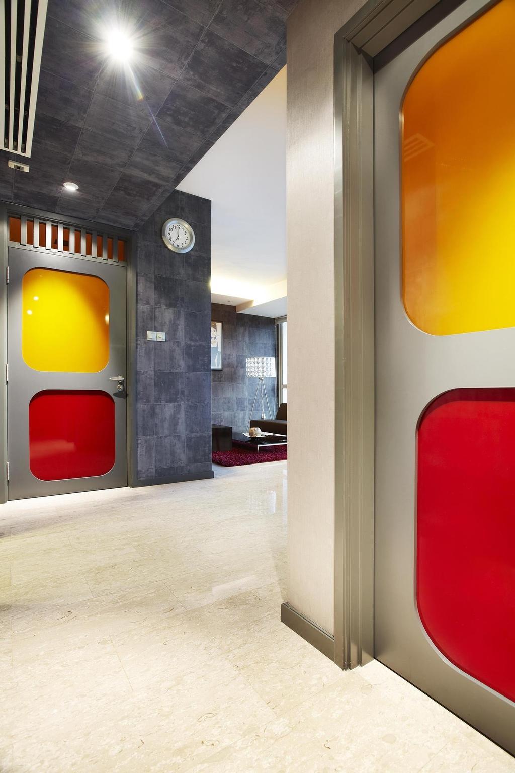 Eclectic, Condo, The Ansley, Interior Designer, Free Space Intent, Doors, Marble Flooring, Gray, Clock, Tile, Tiles, Standing Lamp, White, Metallic, Indoors, Interior Design