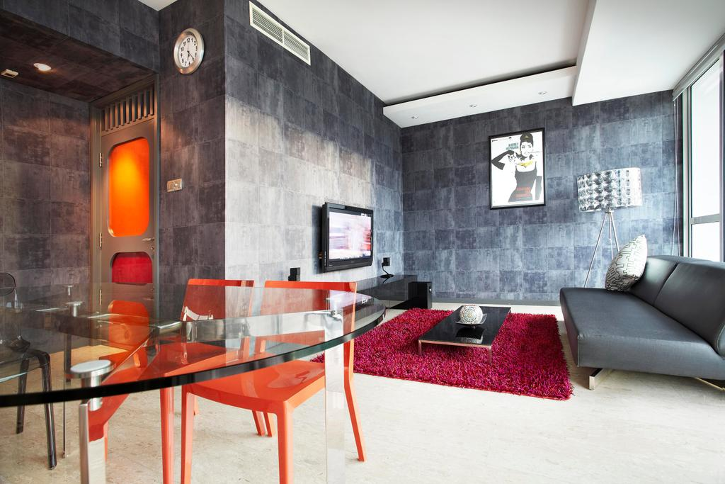 Eclectic, Condo, Living Room, The Ansley, Interior Designer, Free Space Intent, Dining Table, Glass Table, Rug, Red, Coffee Table, Gray, Sofa, Tv Console, Clock, Standing Lamp, Tile, Tiles, Wall Art, False Ceiling, Marble Flooring, Chair, Sink, Furniture, Indoors, Interior Design