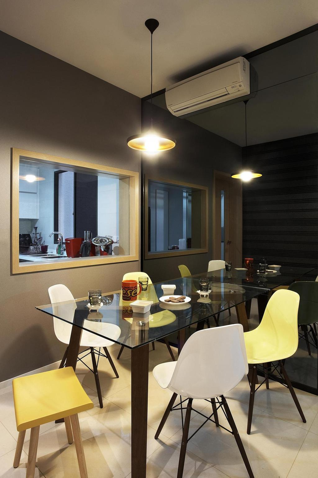 Contemporary, Condo, Dining Room, Meadows @ Peirce, Interior Designer, Free Space Intent, Stools, Chair, Dining Table, Table, Glass Table, Mirror, Full Length Mirror, Cut Out Wall, Hanging Light, Lighting, Tinted Mirror, Beige, Furniture, Toilet, Sink, Indoors, Interior Design, Room, Restaurant