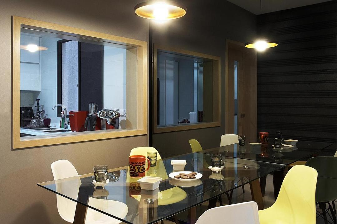 Meadows @ Peirce, Free Space Intent, Contemporary, Dining Room, Condo, Stools, Chair, Dining Table, Table, Glass Table, Mirror, Full Length Mirror, Cut Out Wall, Hanging Light, Lighting, Tinted Mirror, Beige, Furniture, Toilet, Sink, Indoors, Interior Design, Room, Restaurant