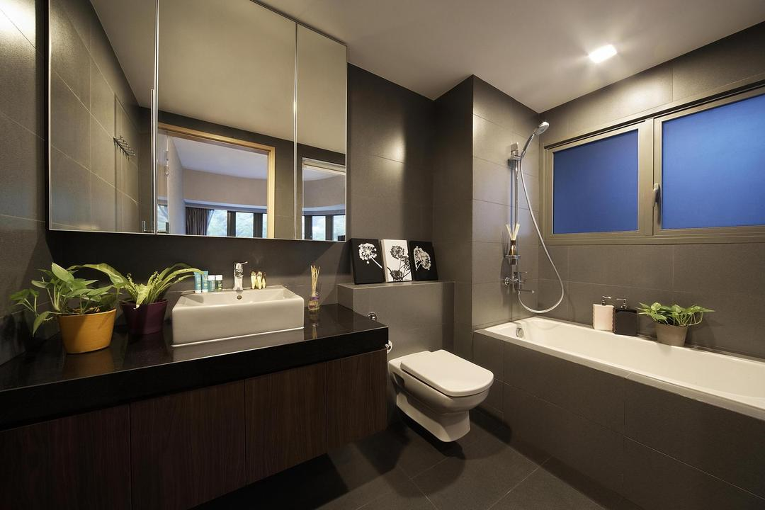 Meadows @ Peirce, Free Space Intent, Contemporary, Bathroom, Condo, Mirror, Bathtub, Tile, Tiles, Vessel Sink, Bathroom Counter, Taupe, Painting, Toilet, Flora, Jar, Plant, Potted Plant, Pottery, Vase, Indoors, Interior Design, Room