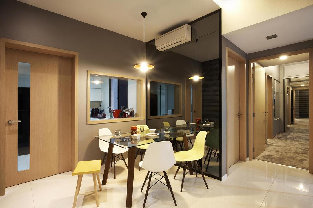 Meadows @ Peirce, Free Space Intent, Contemporary, Dining Room, Condo, Coffee Table, Table, Chair, Glass Table, Mirror, Hanging Light, Lighting, Full Length Mirror, Tinted Mirror, Cut Out Wall, Dining Table, Furniture, Indoors, Interior Design, Room