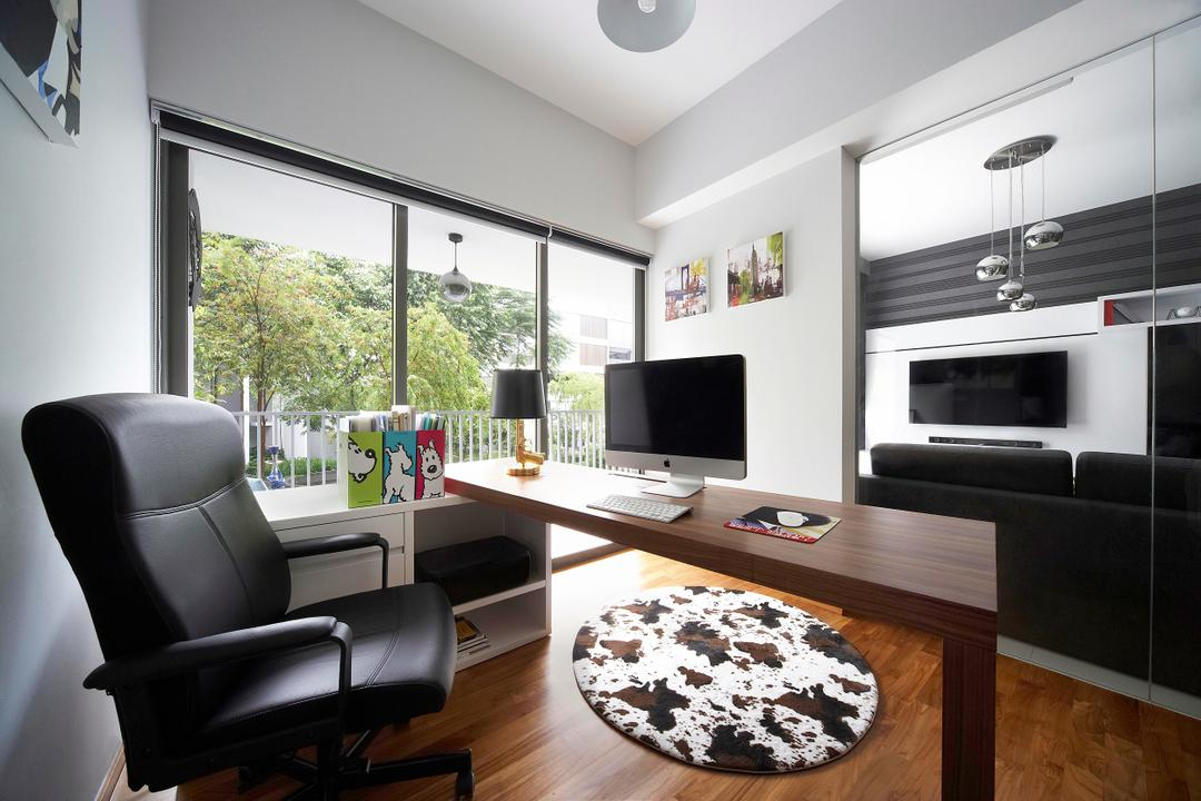 Meadows @ Peirce, Free Space Intent, Contemporary, Study, Condo, Armchair, Chair, Table, Study Table, Rug, Full Length Windows, Balcony, White, Painting, Mirror, Full Length Mirror, Parquet, Lamp, Furniture, Indoors, Interior Design, Couch, Biscuit, Cookie, Food