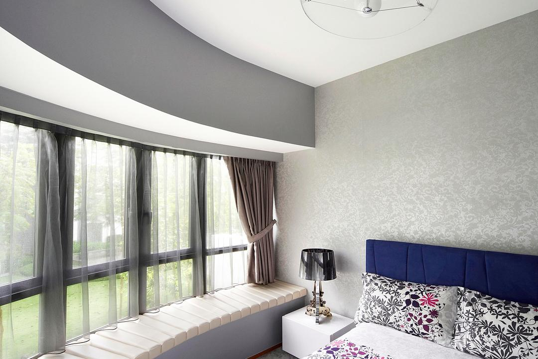 Meadows @ Peirce, Free Space Intent, Contemporary, Bedroom, Condo, Window Seat, Padded, Curtains, Carpet, Carpeted Flooring, Gray, Pendant Light, Hanging Light, Lighting, Wallpaper, Lamp, Side Table, Nightstand, Silver, Indoors, Interior Design, Room