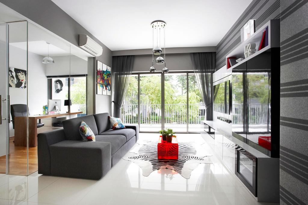 Contemporary, Condo, Living Room, Meadows @ Peirce, Interior Designer, Free Space Intent, Sofa, Tiles, Bright, Black, Rug, Cowhide, Glass Partition, Couch, Furniture, Indoors, Room