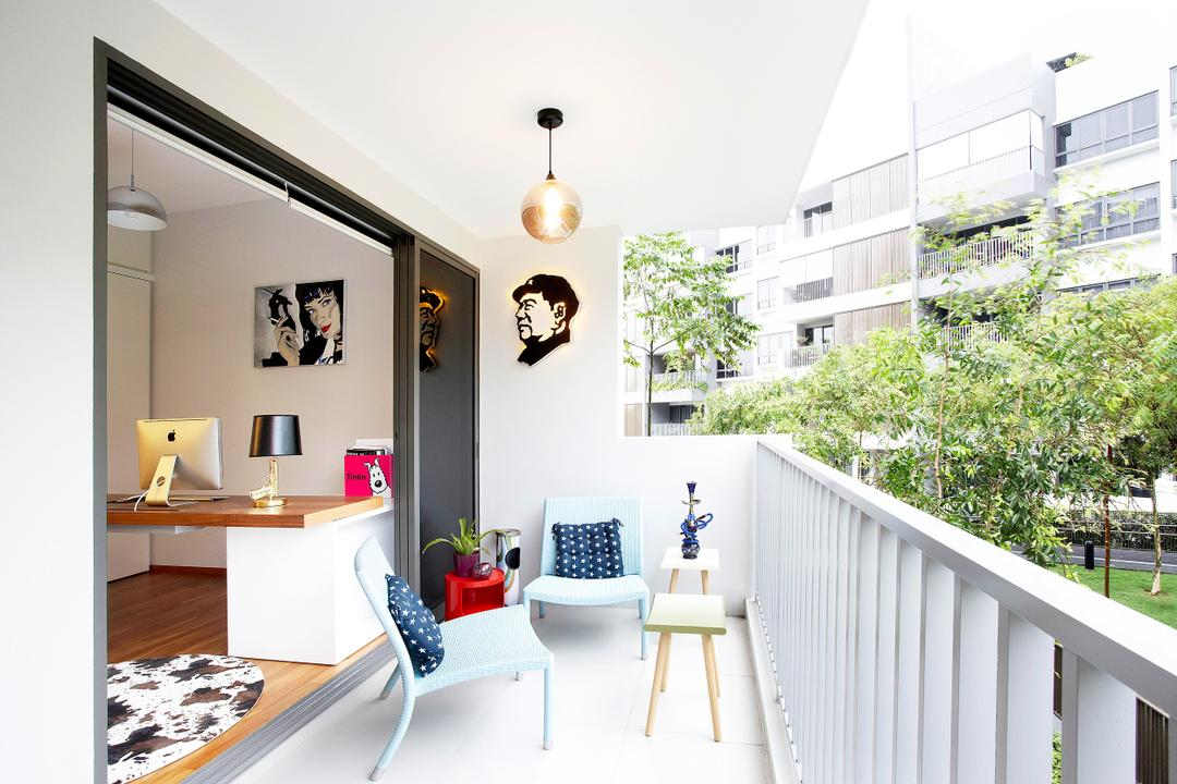 Meadows @ Peirce, Free Space Intent, Contemporary, Balcony, Condo, Outdoors, Chair, Railings, Balustrade, Painting, Hanging Light, Lighting, White, Pendant Light, Cushions, Stools, Lamp, Sliding Doors, Rug, Indoors, Interior Design