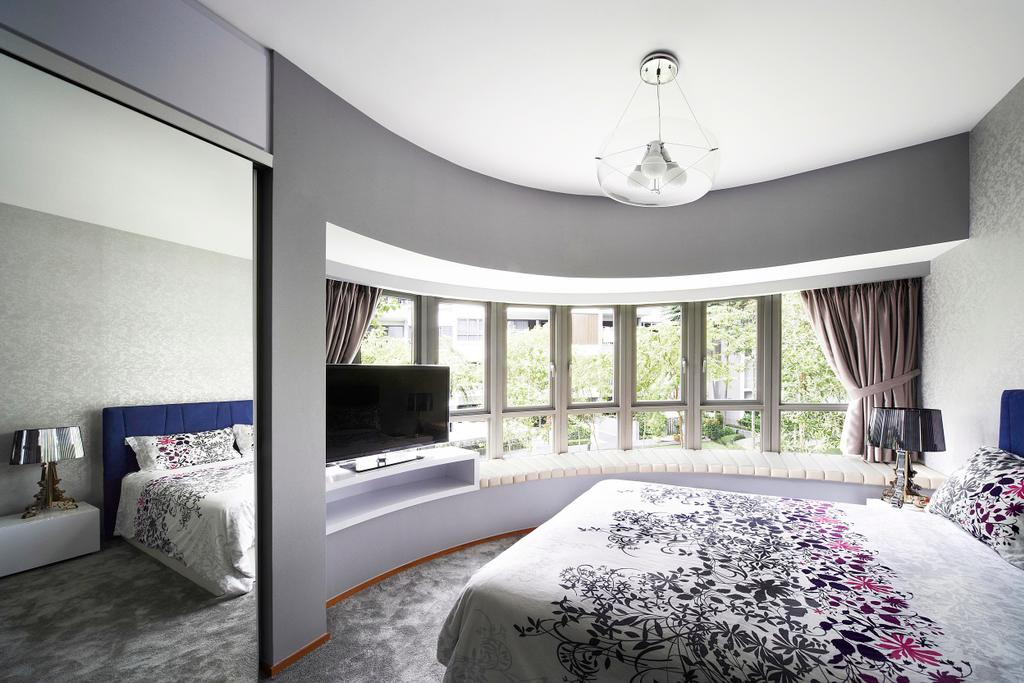 Contemporary, Condo, Bedroom, Meadows @ Peirce, Interior Designer, Free Space Intent, Mirror, Full Length Mirror, Window Seat, Tv Console, Carpet, Carpeted Flooring, Curtains, Lamp, Gray, White, Padded, Curtain, Home Decor, Indoors, Interior Design, Room, Architecture, Building, Skylight, Window