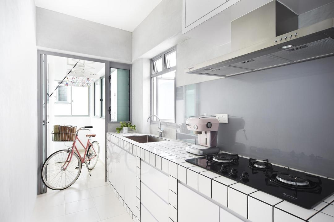 Punggol Walk, Free Space Intent, Scandinavian, Kitchen, HDB, Gray, Kitchen Counter, Tile, Tiles, White, Exhaust Hood, Laundry Room, Transportation, Tricycle, Vehicle, Door, Sliding Door